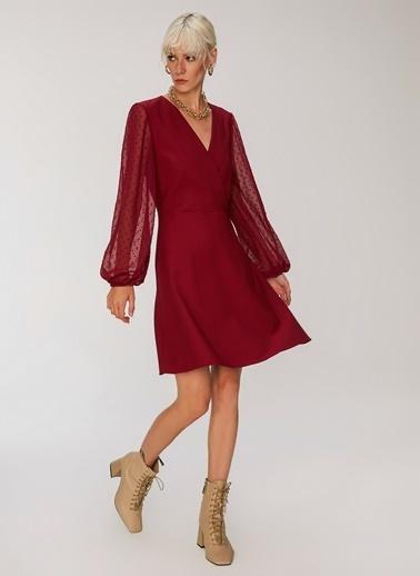 People By Fabrika Kollar Şifon Detaylı Elbise Bordo